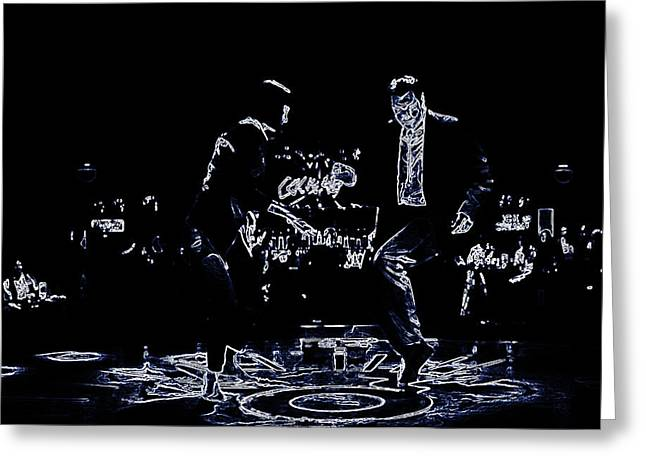 Machismo Greeting Cards - Pulp Fiction Neon Dance Greeting Card by Brian Reaves