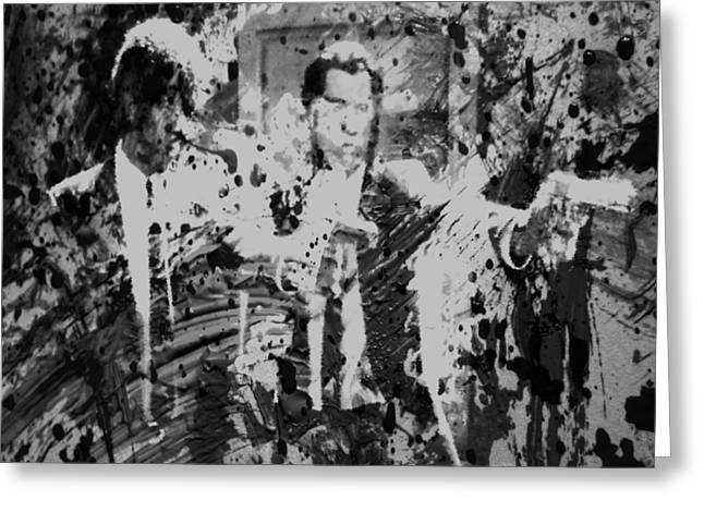 Machismo Greeting Cards - Pulp Fiction Paint Splatter 3c Greeting Card by Brian Reaves