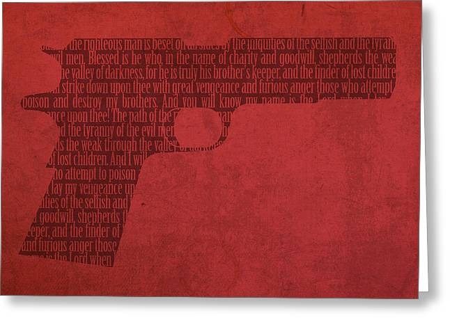 Pulp Fiction Quote Typography In Gun Silhouette Greeting Card by Design Turnpike