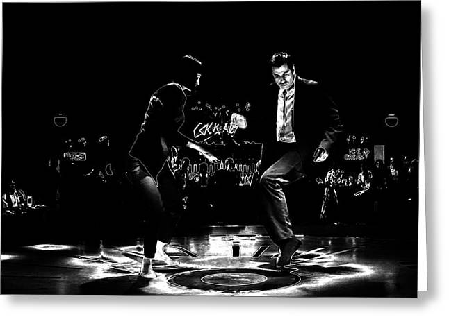 Machismo Greeting Cards - Pulp Fiction Thermal Dance Greeting Card by Brian Reaves