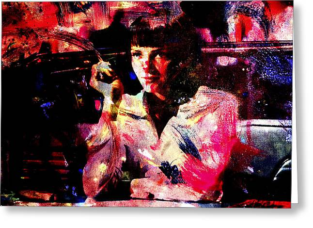 Machismo Greeting Cards - Pulp Fiction Uma Thurman Greeting Card by Brian Reaves