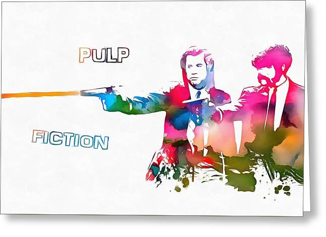 Greatest Of All Time Greeting Cards - Pulp Fiction Watercolor Paint Splatter Greeting Card by Dan Sproul