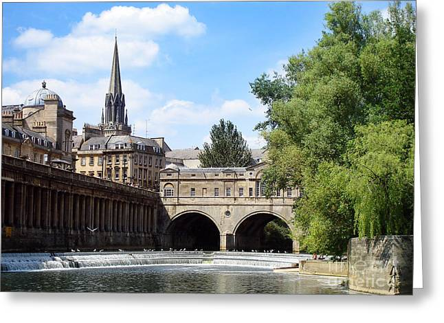 Rooftop Photographs Greeting Cards - Pulteney bridge and weir Greeting Card by Jane Rix