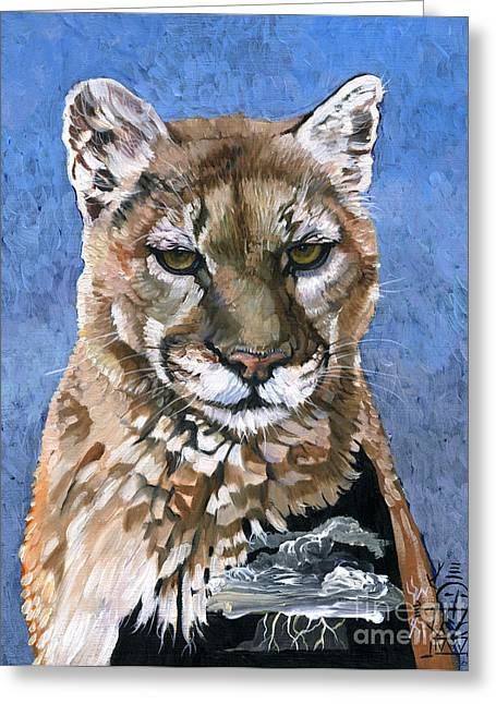 Puma - The Hunter Greeting Card by J W Baker