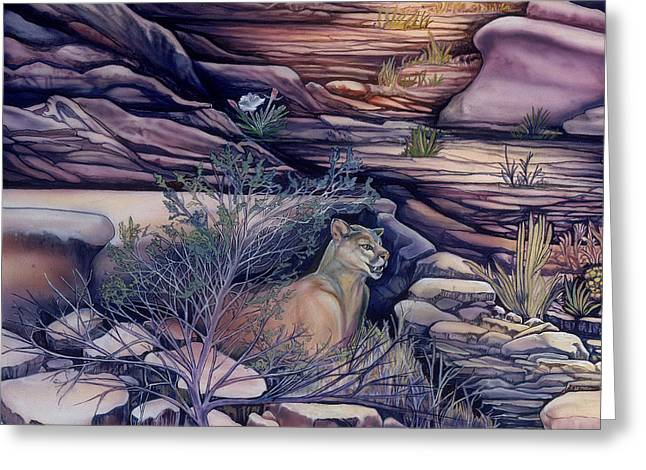 Heart Of Waterfalls Greeting Cards - Puma in the Desert Greeting Card by Sevan Thometz
