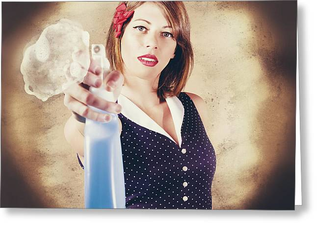 Pump Action Pin Up Woman Killing Glass Grime Greeting Card by Jorgo Photography - Wall Art Gallery