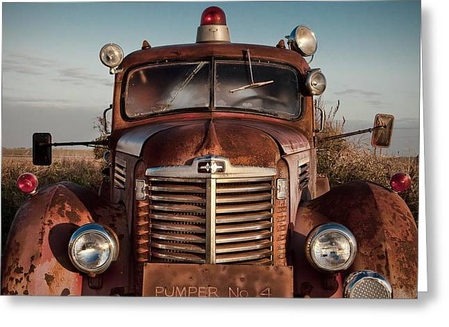 Shack Greeting Cards - Pumper No 4 Fire Truck in the Mississippi Delta Greeting Card by T Lowry Wilson