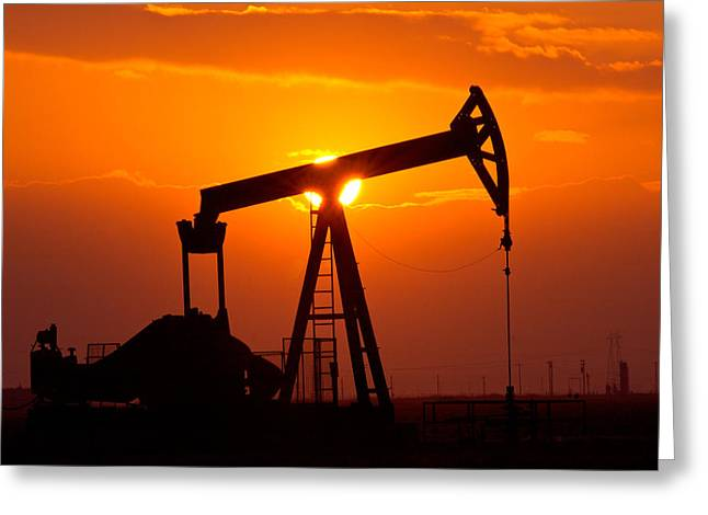Pumping Oil Rig At Sunset Greeting Card by Connie Cooper-Edwards