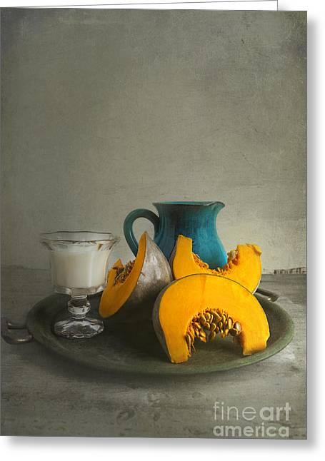 Pumpkin And Blue Jar Greeting Card by Elena Nosyreva