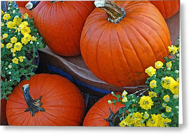 Watermelon Greeting Cards - Pumpkin and flowers Greeting Card by Michael Thomas