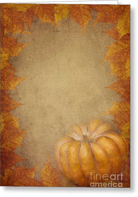 Pyrography Greeting Cards - Pumpkin And Maple Leaves Greeting Card by Jelena Jovanovic