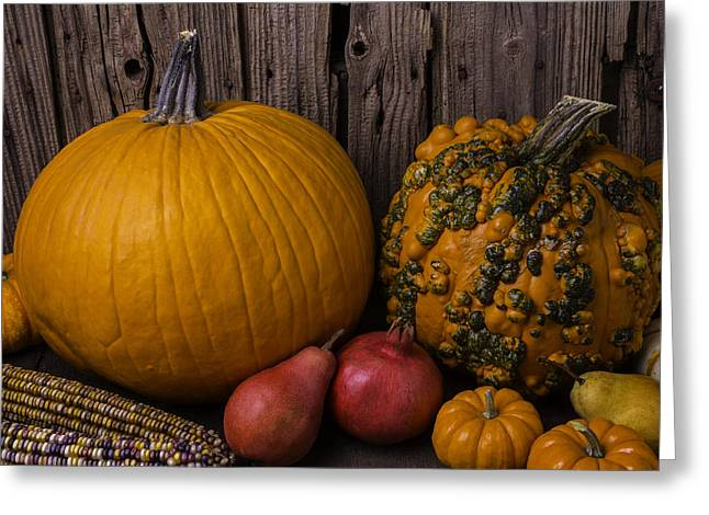 Ornamentation Greeting Cards - Pumpkin Autumn Still Life Greeting Card by Garry Gay
