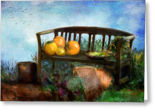 Nature Scene Greeting Cards - Pumpkin Harvest Respite Greeting Card by Colleen Taylor