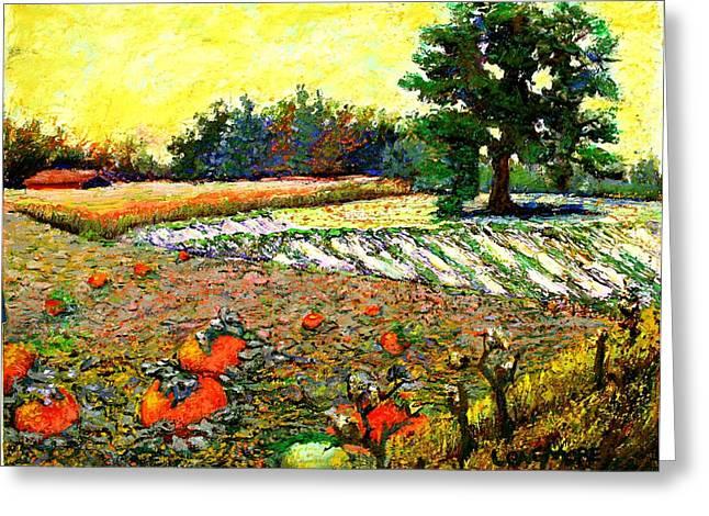 Artist Greeting Cards - Pumpkin Harvest Greeting Card by Sandra Longmore