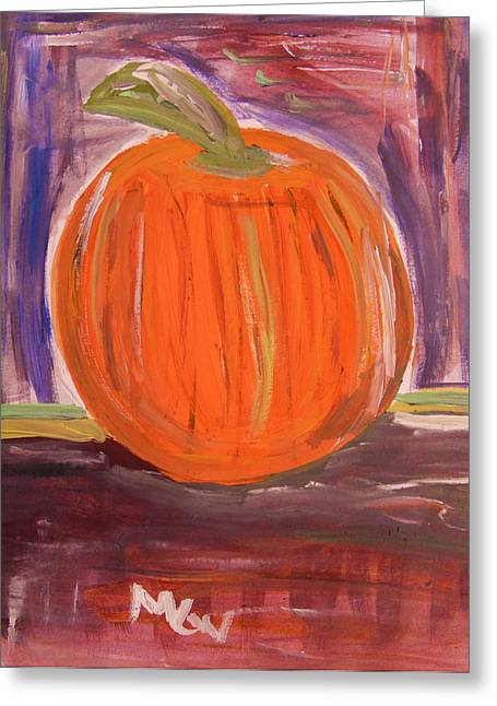 Pumpkin In The Barn Greeting Card by Mary Carol Williams