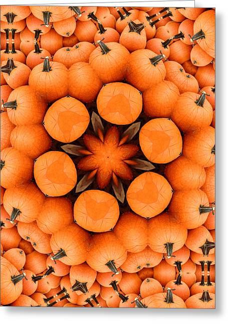 Charlotte Greeting Cards - Pumpkin Kaleidoscope Greeting Card by Morgan Carter