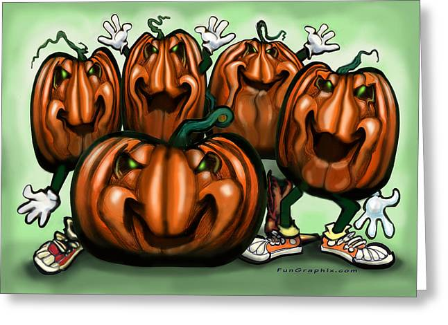 Pumpkin Party Greeting Card by Kevin Middleton