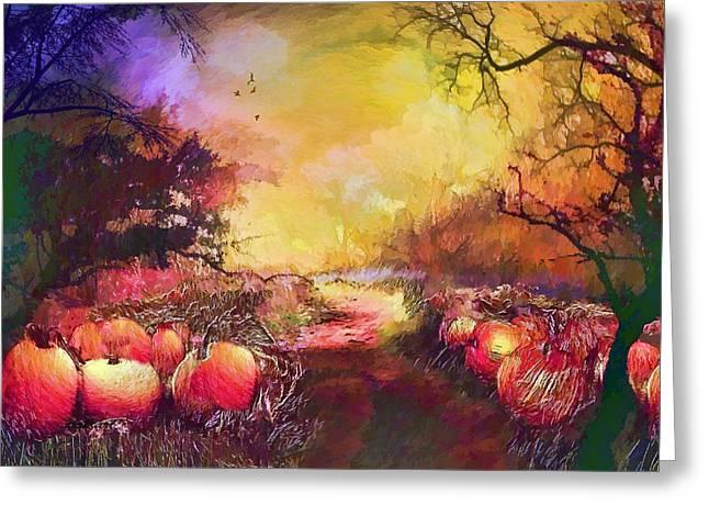 Valerie Anne Kelly Art Greeting Cards - Pumpkin patch Greeting Card by Valerie Anne Kelly