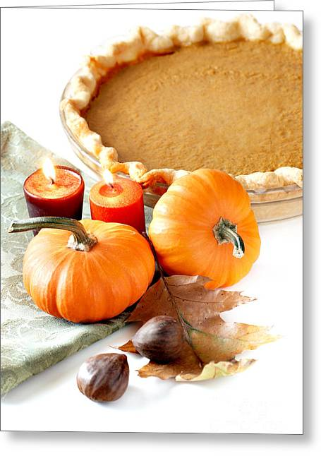 Thanksgiving Greeting Cards - Pumpkin Pie Greeting Card by HD Connelly