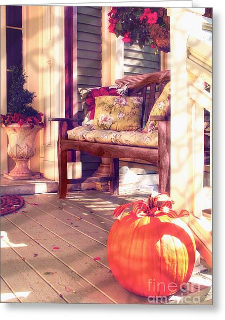 Sun Porches Greeting Cards - Pumpkin Porch Greeting Card by Mindy Sommers