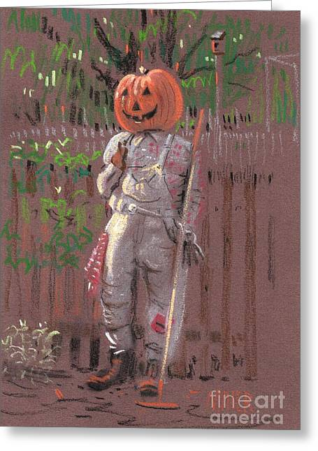 Scarecrow Greeting Cards - Pumpkin Scarecrow Greeting Card by Donald Maier