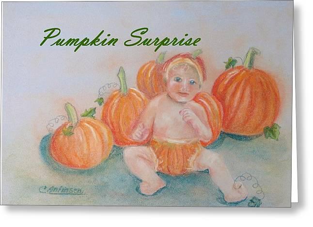 Pumpkin Surprise Greeting Card by Carol Allen Anfinsen