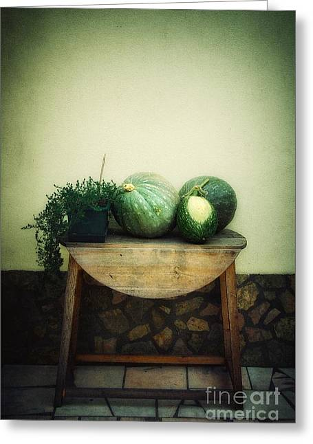 Harvest Time Greeting Cards - Pumpkin Table Greeting Card by Carlos Caetano