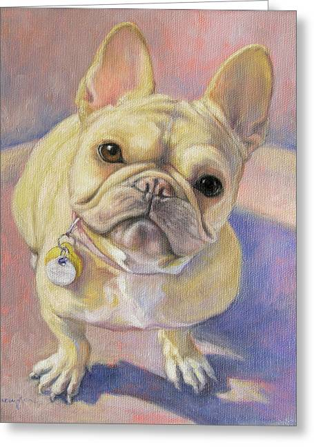Bulldog Paintings Greeting Cards - Pumpkin the French Bulldog Greeting Card by Tracie Thompson