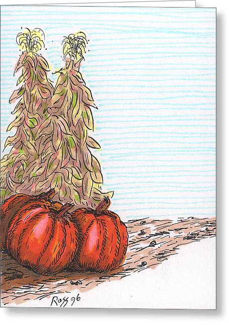 Pumpkins Drawings Greeting Cards - Pumpkin Time Greeting Card by Ross Powell