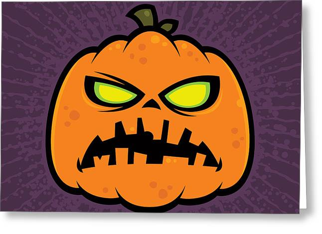 Halloween Greeting Cards - Pumpkin Zombie Greeting Card by John Schwegel