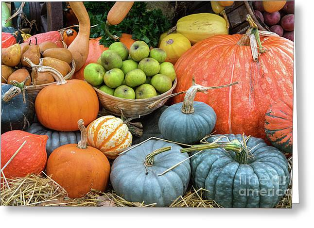 Pumpkins And Fruit Greeting Card by Tim Gainey