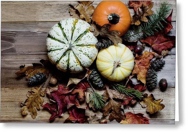 Pumpkins And Leaves Greeting Card by Rebecca Cozart