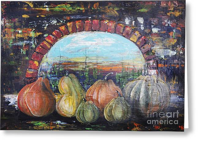 Castle Horror Illustration Greeting Cards - Pumpkins for Halloween Greeting Card by Irina Gromovaja