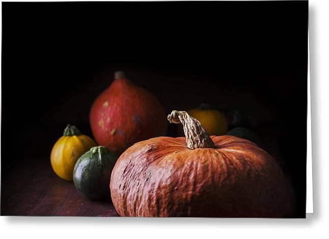 Design Pyrography Greeting Cards - Pumpkins Greeting Card by Jelena Jovanovic