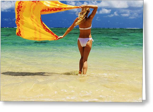 Punaluu Beach Vacation Greeting Card by Tomas del Amo - Printscapes