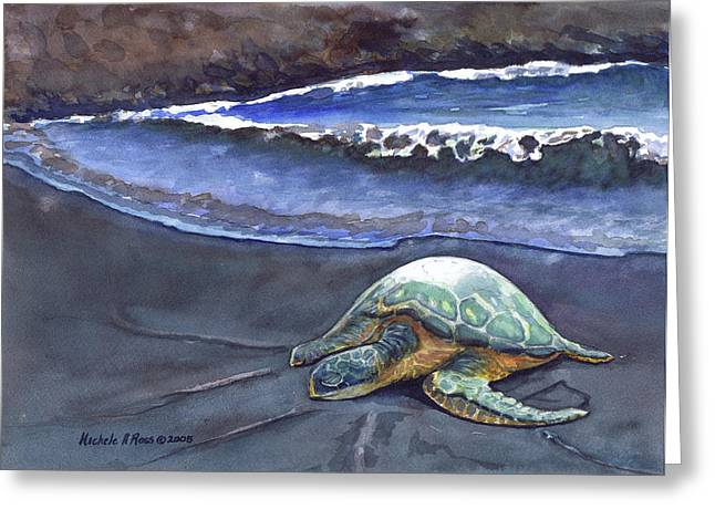 Punaluu Honu Beach Nap Greeting Card by Michele Ross