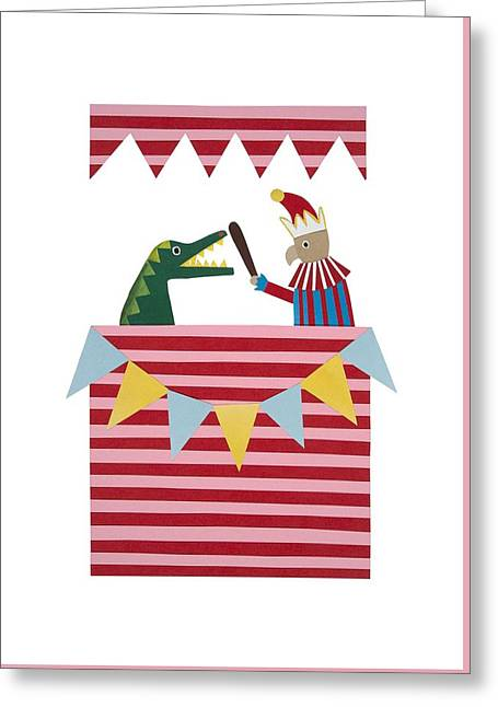 Puppets Greeting Cards - Punch and Judy Greeting Card by Isobel Barber