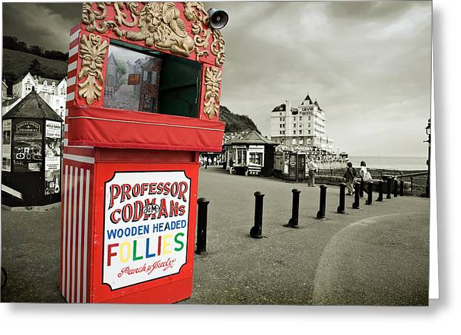 Punch And Judy Theatre On Llandudno Promenade Greeting Card by Mal Bray