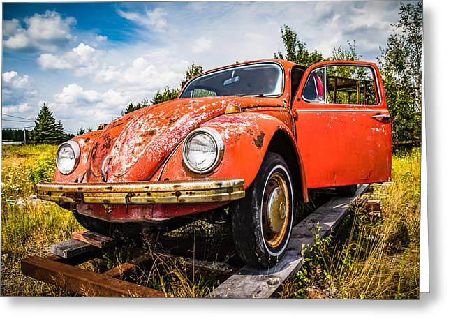 Rusted Cars Greeting Cards - Punch Buggy Orange Greeting Card by AL Thomas