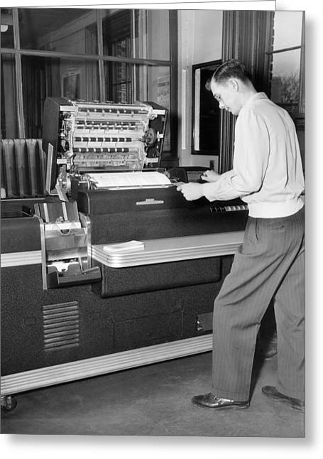 Punch Card Accounting Greeting Card by Underwood Archives