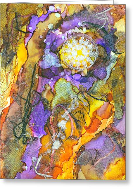 Lacy Collage Greeting Cards - Punch Line - A Greeting Card by Sandy Sandy