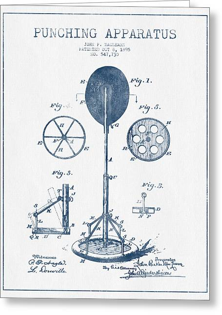 Punch Greeting Cards - Punching Apparatus Patent Drawing from 1895 -  Blue Ink Greeting Card by Aged Pixel