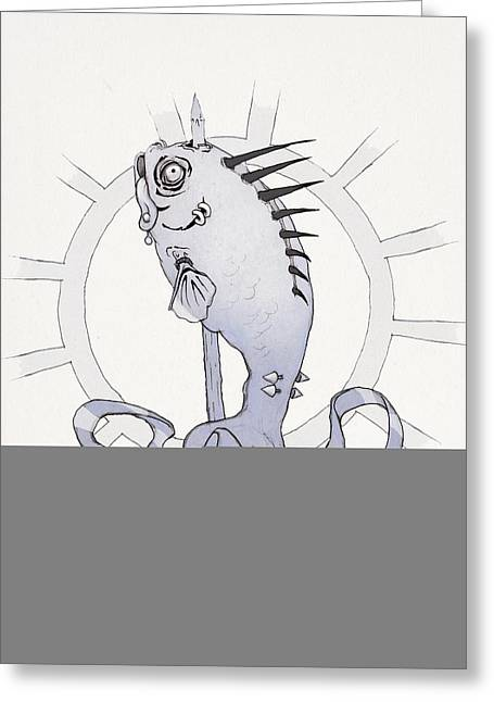 Striped Drawings Greeting Cards - Punk Fish Greeting Card by Ethan Harris