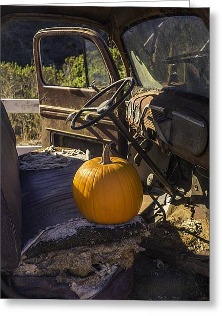 Punpkin On Old Truck Seat Greeting Card by Garry Gay