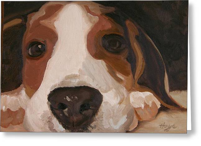 Puppies Paintings Greeting Cards - Pup Greeting Card by Donna Hays