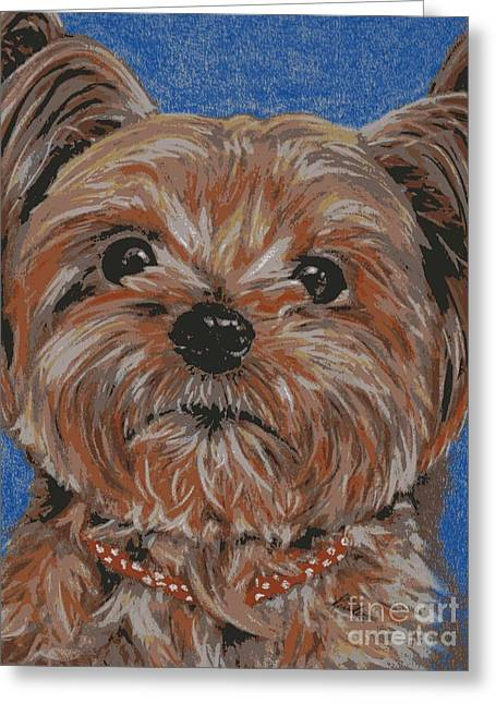 Puppies Pastels Greeting Cards - Pup posterized Greeting Card by Linda Eversole