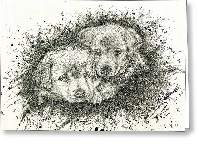 Pictures Of Cats Drawings Greeting Cards - Puppies Greeting Card by Jac  Jac