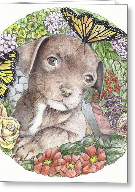 Puppies Mixed Media Greeting Cards - Puppy and butterfly Greeting Card by Morgan Fitzsimons