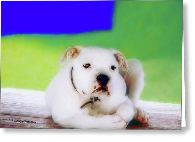 Puppy Art 2 Greeting Card by Miss Pet Sitter
