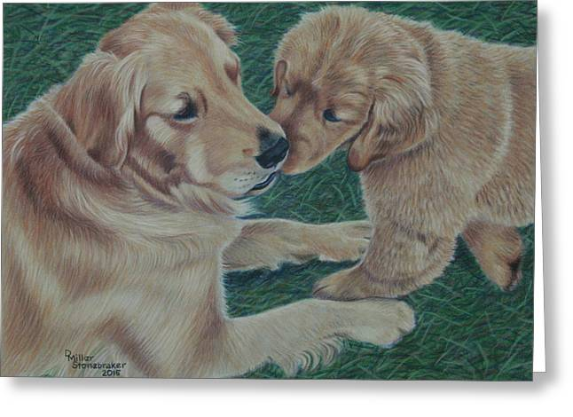 Puppy Drawings Greeting Cards - Puppy Kisses Greeting Card by Debbie Stonebraker